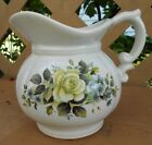 McCoy Pottery Pitcher 7528 Light Blue Hue with Lovely Green Rose Design VTG