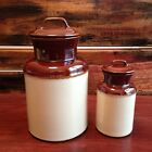 Vintage McCOY POTTERY USA BLANK GLAZED CANISTERS 251, 253 W/Lids * 2 Pc Set!