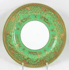 HTF ANTIQUE MINTON ENGLAND CHINA G8772 DINNER PLATE RAISED GOLD ENCRUSTED GREEN