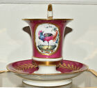 Antique French Sevres?  Exotic Bird Porcelain Cup Saucer