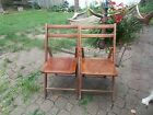 2 VINTAGE ANTIQUE WOODEN WOOD FOLDING CHAIRS MANY PHOTOS