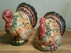FITZ & FLOYD HARVEST HERITAGE THANKSGIVING TURKEY CANDLEHOLDERS EXCELLENT!!!