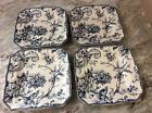 222 Fifth Square Salad Plates. Adelaide Blue. Set Of 4. Beautiful. New