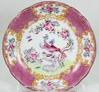 4 DESSERT SIDE BOWLS MINTON CHINA #9646 COCKATRICE PINK SCALLOPED BIRD FLORAL