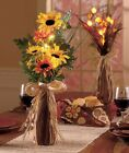 24 LIGHTED FLORAL ARRANGEMENTS SUNFLOWERS TABLE CENTERPIECE MANTEL HOME DECOR