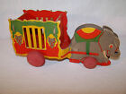 VINTAGE Heavy Cardboard CIRCUS WAGON TRAIN Elephant Wooden Wheels RARE PULL TOY