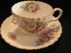 AYNSLEY BONE CHONA TGEA CUP AND SAUCER WHITE SWIRLED WITH MULTI COLOR DAISIES