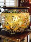 Huge Antique Japanese Satsuma Planter With Dragon And Monk Motif Signed