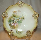 Vintage 3 Footed Hand Painted Moliare GERMANY Daisies Reticulated Pierced Bowl