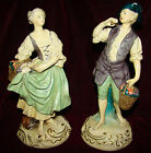 Pair of Vintage Borghese ITALY Figurines Man & Woman with Fruit Baskets