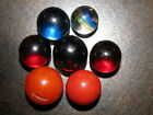 Lot of (7) Vintage 1930's Marbles - Hand Made Unusual Colors - Red, Blue, Swirl