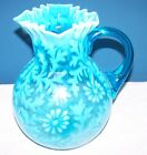 NORTHWOOD BLUE OPALESCENT DAISY & FERN WATER PITCHER CIRCA LATE 1800'S