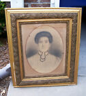Large Antique Framed Picture Portrait of Old Woman Stretched Canvas Late 1800's