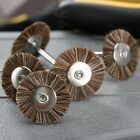 5Pcs 3mm Shank Rotary Flat Polishing Wire Wheel Burshes For Grinder Tool Brown