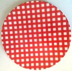 Red White Gingham ReUsable Picnic Patio Outdoor Dinner Plates ~ 4 Included