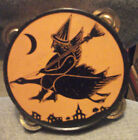 1920s HALLOWEEN Witch on Goose  Litho TIN Tambourine (CHEIN & CO.U.S.A.) RARE!