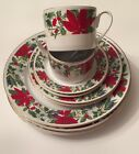 GIBSON POINSETTIA BLOOM~9 REPLACEMENT PIECES of PLATES,CUPS, SAUCERS