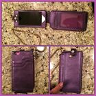 Stuart Weitzman Purple Phone 5 5S iPod Touch Leather Case Wallet gold Wristlet