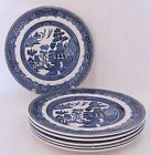 Johnson Willow Six (6) Plates Bread & Butter Older Mark Blue Transferware