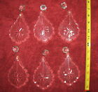 SET OF 6 VINTAGE BOHEMIAN FRENCH 24% LEADED CRYSTALS FOR CHANDELIER FIXTURE MINT