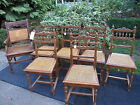 7 Antique Oak Chairs with Caned Seats - Six (6) Side Chairs & One (1) Arm Chair