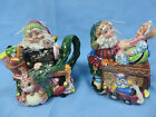 Fitz and Floyd Santa's Magic Workshop Sugar and Creamer Collectible