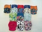 5 Happy Flute One Size (OS) All-In-Two/Pocket Cloth Diapers with Snap-In Inserts