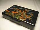 VINTAGE ASIAN BLACK LACQUER WARE HAND PAINTED JEWELRY TRINKET BOX HONG KONG