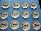 11  LIMOGES LS&S HAND PAINTED FISH PLATES, SET, 9