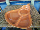 ROCK-MOUNT POTTERY Vintage divided dish w handle unique cheese cracker candy