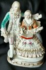 VINTAGE ANTIQUE DRESDEN STYLE PORCELAIN LACE FIGURES CHAIR MADE IN JAPAN