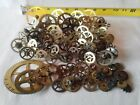 *LARGE* ASSORTED LOT OF VINTAGE & ANTIQUE BRASS CLOCK GEARS - STEAMPUNK