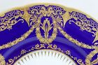 1+ STUNNING MINTON CHINA H2965 DINNER PLATE COBALT BLUE RAISED GOLD ENCRUSTED