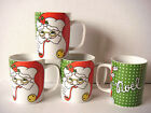 SET OF 4 VTG 1979 FITZ AND FLOYD SANTA XMAS MUGS VARIATIONS