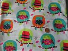 1 Yard Cotton FABRIC Whimsical OWLS Pink Green Aqua FREE SHIPPING!