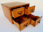 ANTIQUE OAK LIBRARY CARD 3 x 5 INCH DOVETAIL FILE CABINET 4 DRAWER KITCHEN