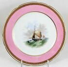 1874 ANTIQUE MINTON CHINA CABINET PLATE HAND PAINTED GOLD ENCRUSTED LAUREL PINK