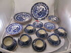 Burgess Burleigh Ware Willow Flow Blue China England Gold Trim