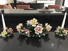 CAPODIMONTE ANTIQUE FLORAL CENTERPIECE AND MATCHING CANDLE HOLDERS