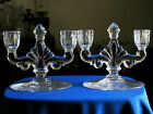 2) HEISEY (Trident) Double CANDLE HOLDER (S) (KUSAK) DOLLY MADISON ROSE RARE VGC