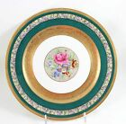 FAB ROSENTHAL BAVARIA CHINA 2477 DINNER PLATE RAISED GOLD ENCRUSTED GREEN FLORAL