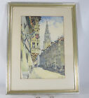 Vintage Watercolour Painting Framed with Mat Signed Marcy Bern Switzerland 1953