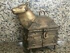 Antique Brass COW Trinket / Stash Box Lidded Hinged Made in India Sacred Cow