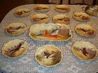 LIMOGES  HAND PAINTED SIGNED 11 PLATES + PLATTER TRAY, BIRDS, FISH /  GAME SET