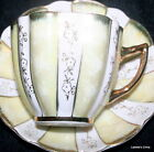 Vintage Japanese Tea Cup and Saucer Soft Yellow Heavy Gilt Porcelain Teacup Duo