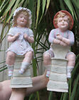 2 LG Gebruder Heubach Bisque porcelain Piano Baby doll Figurine Antique Vintage
