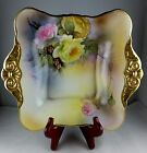 Noritake Hand Painted Handled Square Bowl Yellow Roses w/ Heavy Gold - Signed