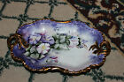 Hand Painted Purple Flower Candy Dish-Gold Accents-Scalloped Border-Signed-LQQK