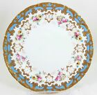 4 TIFFANY ROYAL CAULDON CHINA N4689 PLATE BLUE RAISED GOLD ENCRUSTED PINK FLORAL