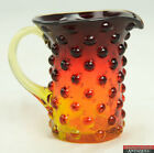 Vintage Amberina Red Orange Hobnail Glass Small 3 3 4 Creamer Syrup Pitcher